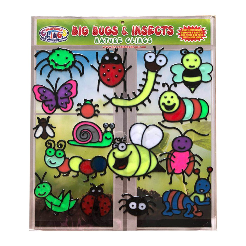 Big Bugs and Insects Flexible Gel Clings - CPSC Tested Safe Window Clings for Kids - Bee, Grasshopper, Spider, Ladybug, Butterfly and More Gel Decals for Decoration