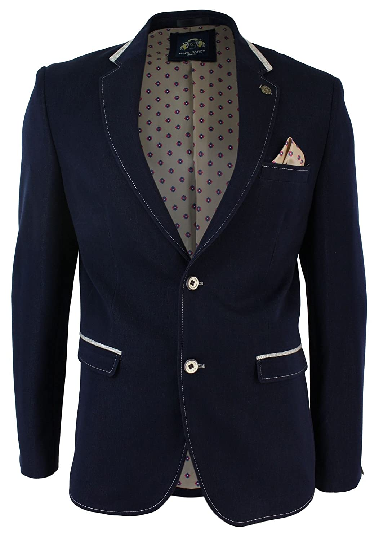 Mens Marc Darcy Designer 2 Piece Formal Denim Style Blazer Jacket Or Waistcoat