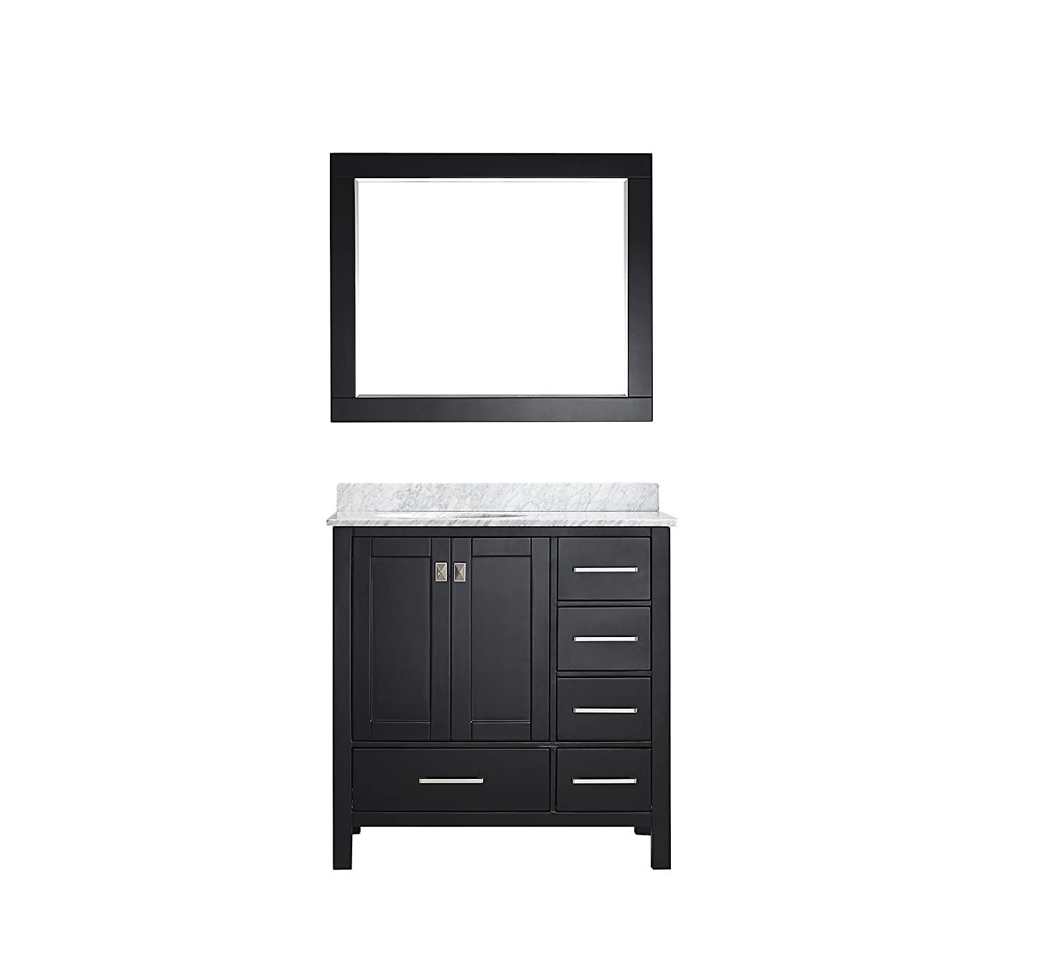 well-wreapped Eviva EVVN412-36ES Aberdeen 36 inch Transitional Espresso Bathroom Vanity with White Carrera Countertop Combination