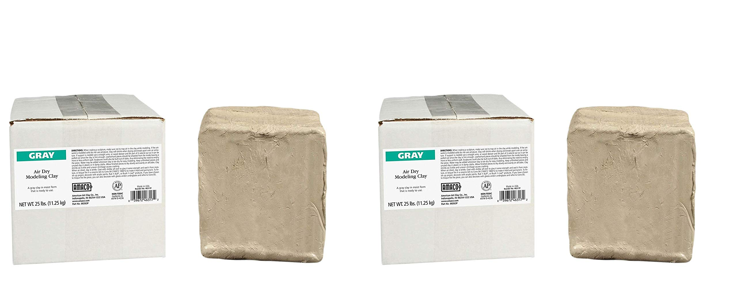 AMACO AMA46317P Air Dry Clay, Gray, 25 lbs. (Pack of 2) by AMACO (Image #1)