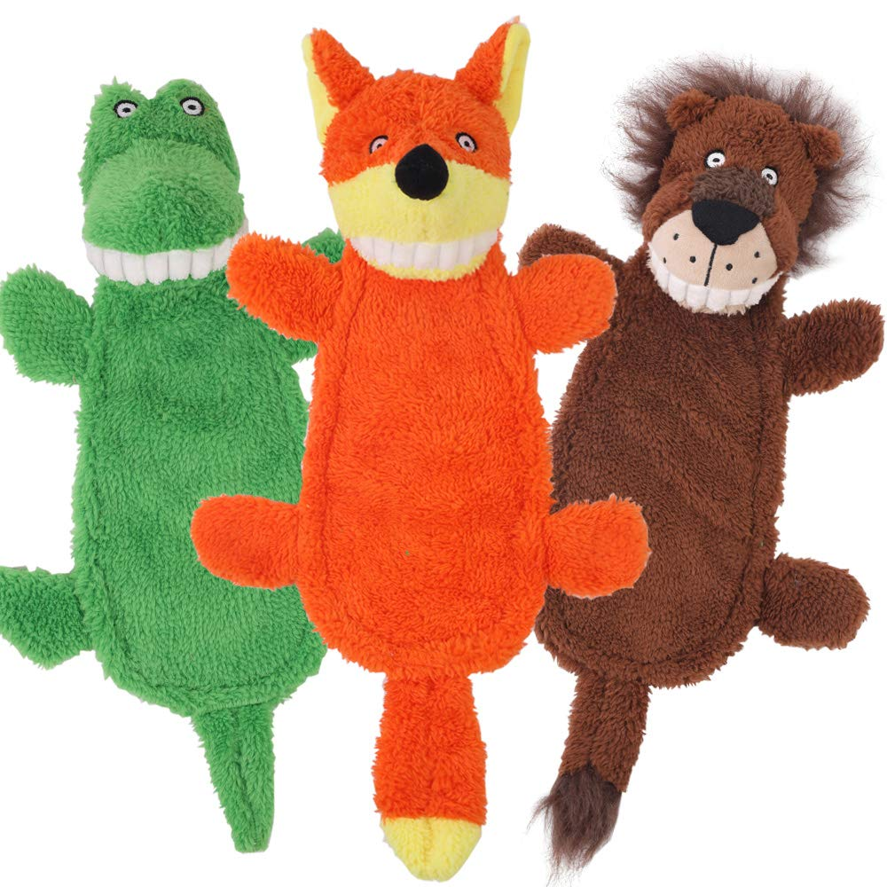 3 Pack CNMGBB Crinkle Dog Toy No Stuffing Squeaky Plush Dog Toy Durable Stuffingless Cute Dog Chew Toy Set with Fox Lion and Crocodile for Small Medium and Large Dogs 16 inch 3 Pack Pet Toys