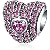"HMILYDYK ""Love You Forever"" Heart Charm Bead CZ Crystal 925 Sterling Silver fit Pandora Charms Bracelet"