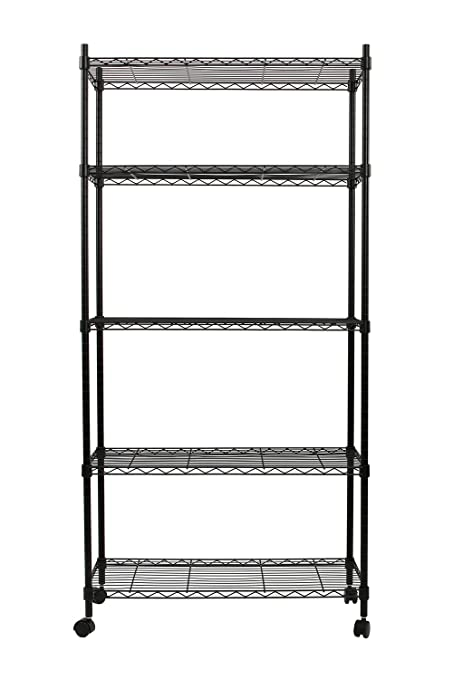 Finnhomy 5 Tier Wire Shelving Unit 5 Shelves Storage Rack With Wheels U0026  Stable Leveling Feet