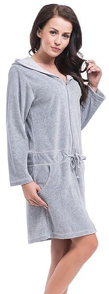 dn-nightwear Mujer Albornoz/Abrigo Bata/Sauna con Capucha con Alto Contenido de algodón: Amazon.es: Ropa y accesorios