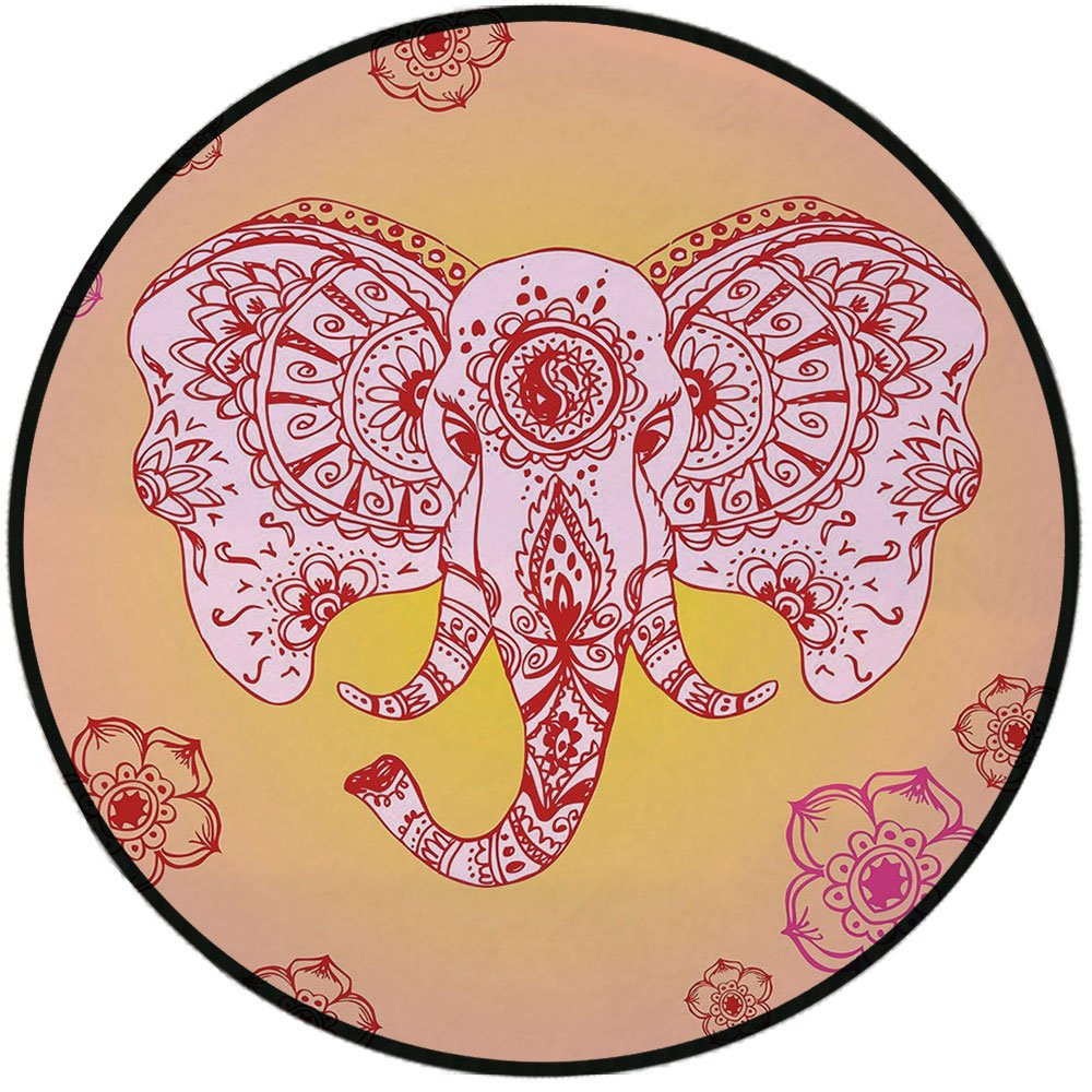 Printing Round Rug,Elephant Mandala,Ethnic Tribal Mehndi Animal Image with Paisley Details Print Mat Non-Slip Soft Entrance Mat Door Floor Rug Area Rug For Chair Living Room,Hot Pink Red and Orange