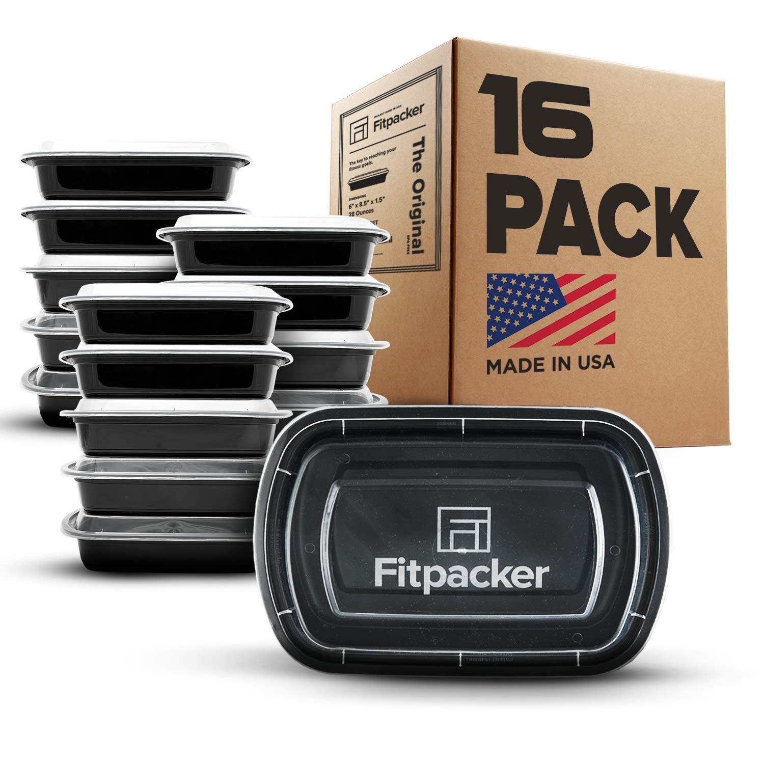 Fitpacker Meal Prep Containers - USA Quality - BPA Free Food Storage - Microwave, Dishwasher and Freezer Safe (16 pack, One Compartment, 28oz)