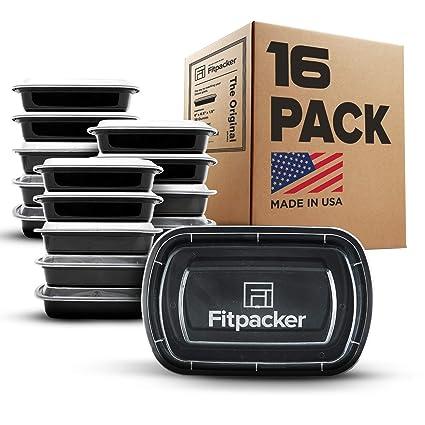 Fitpacker contenedores para la comida preparatoria sin BPA – para almacenar y controlar las porciones Paquete