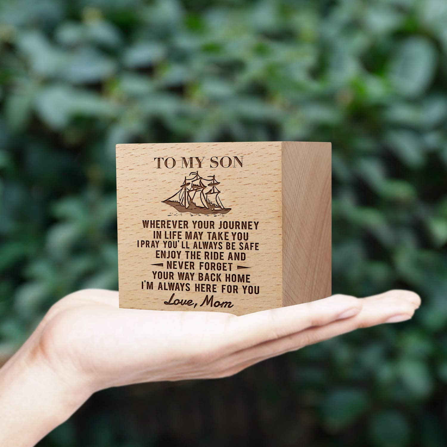 to Daughter from mom Engraved Potted Plant,Custom Square Mini Wooden Bonsai,Succulent Flower Pot to Family and Friend,Best Personality Gifts for Birthday Christmas Day