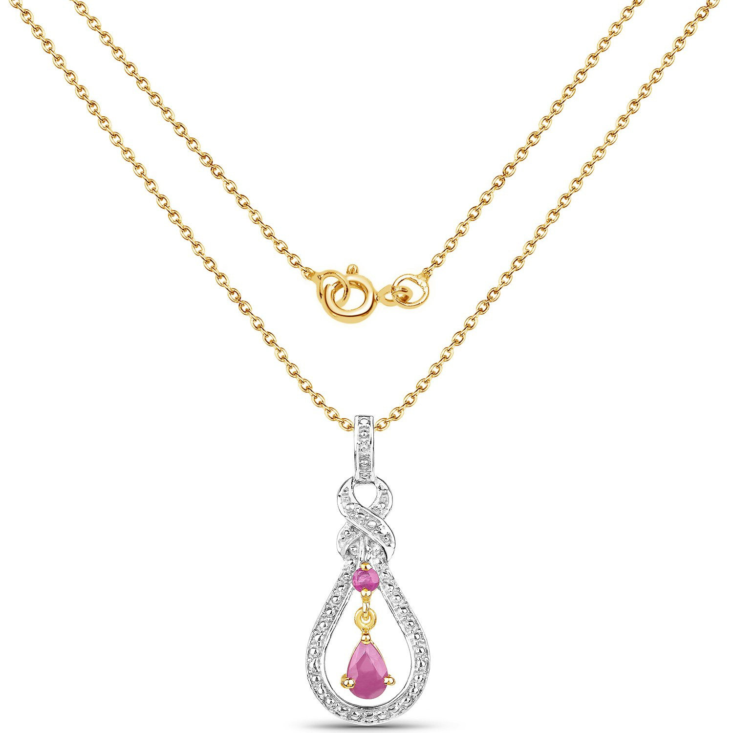 14K Yellow Gold Plated 0.48 Carat Genuine Ruby .925 Sterling Silver Pendant