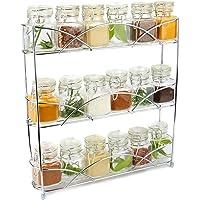 3 Tier Herb & Spice Rack Organiser | Free Standing Non-Slip Modern Design | Universal Design | Kitchen & Pantry Storage Solution | M&W Chrome