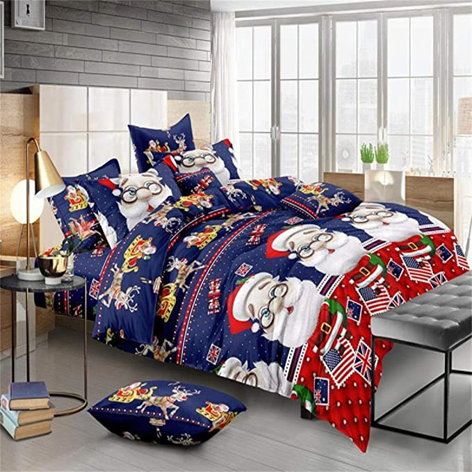 Winter Christmas Print Duvet Quilt Cover Bedding Set Pillowcases King Size
