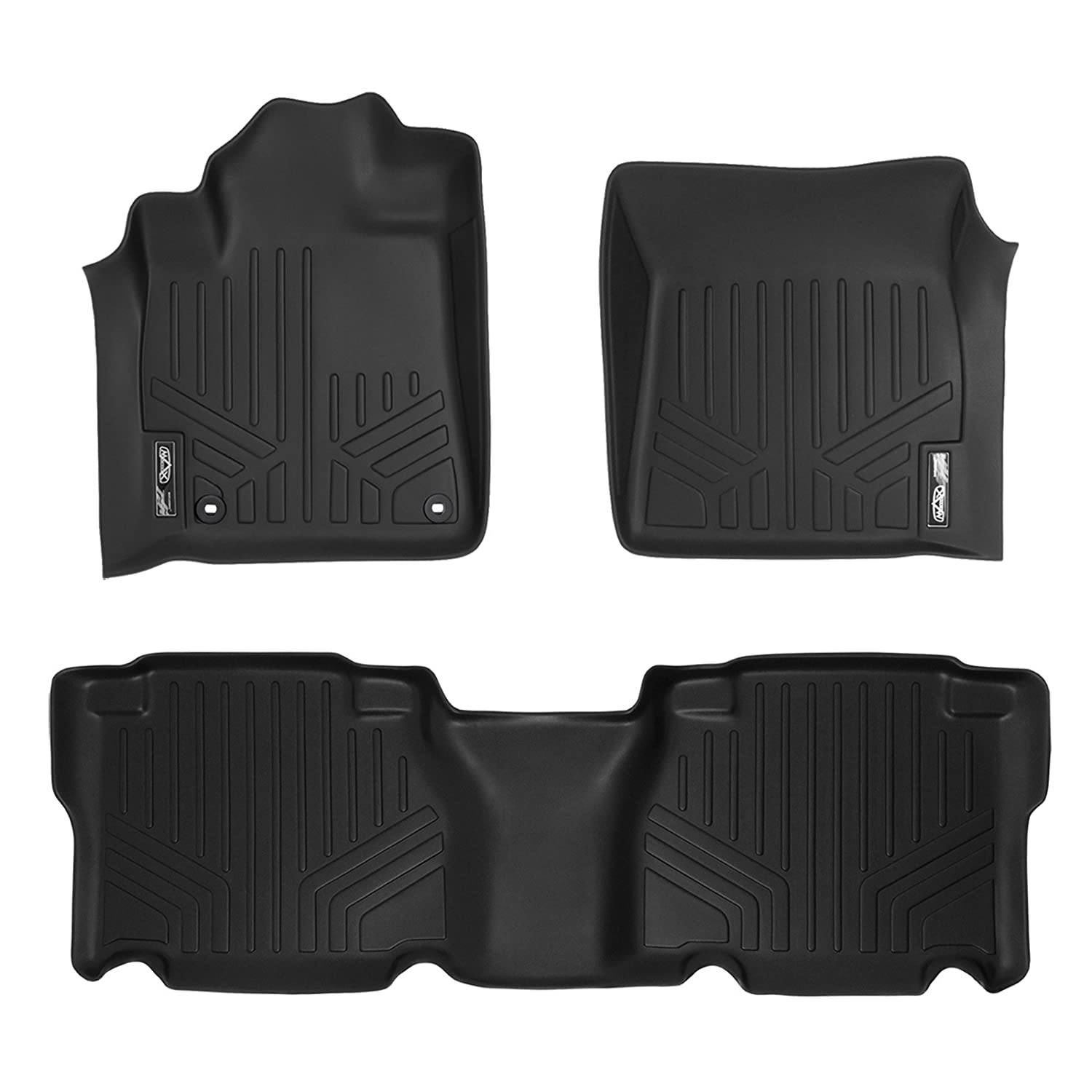 SMARTLINER Custom Fit Floor Mats 2 Row Liner Set Black for 2012-2013 Toyota Tundra CrewMax Cab