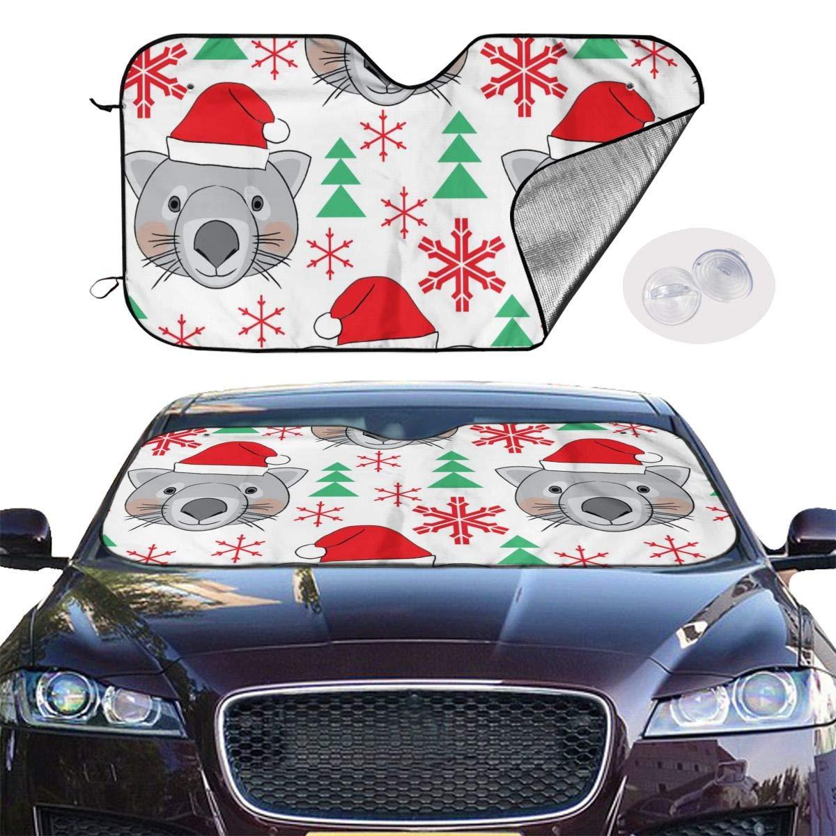 Weihnachten Wombats Schneeflocken und B/äume im Freien Auto Windschutzscheibe Sonnenschutz Gedruckt Anzug f/ür Auto SUV LKW 55/×29.9 Zoll