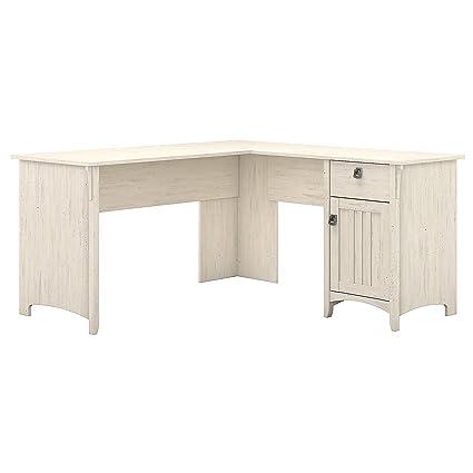 Bush Furniture Salinas L Shaped Desk with Storage in Antique White - Amazon.com: Bush Furniture Salinas L Shaped Desk With Storage In