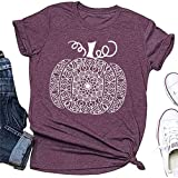 Womens Fall Mandala Halloween Pumpkin T-Shirt Funny Leopard Rainbow Happy Boo Short Sleeve Graphic Tees Tops