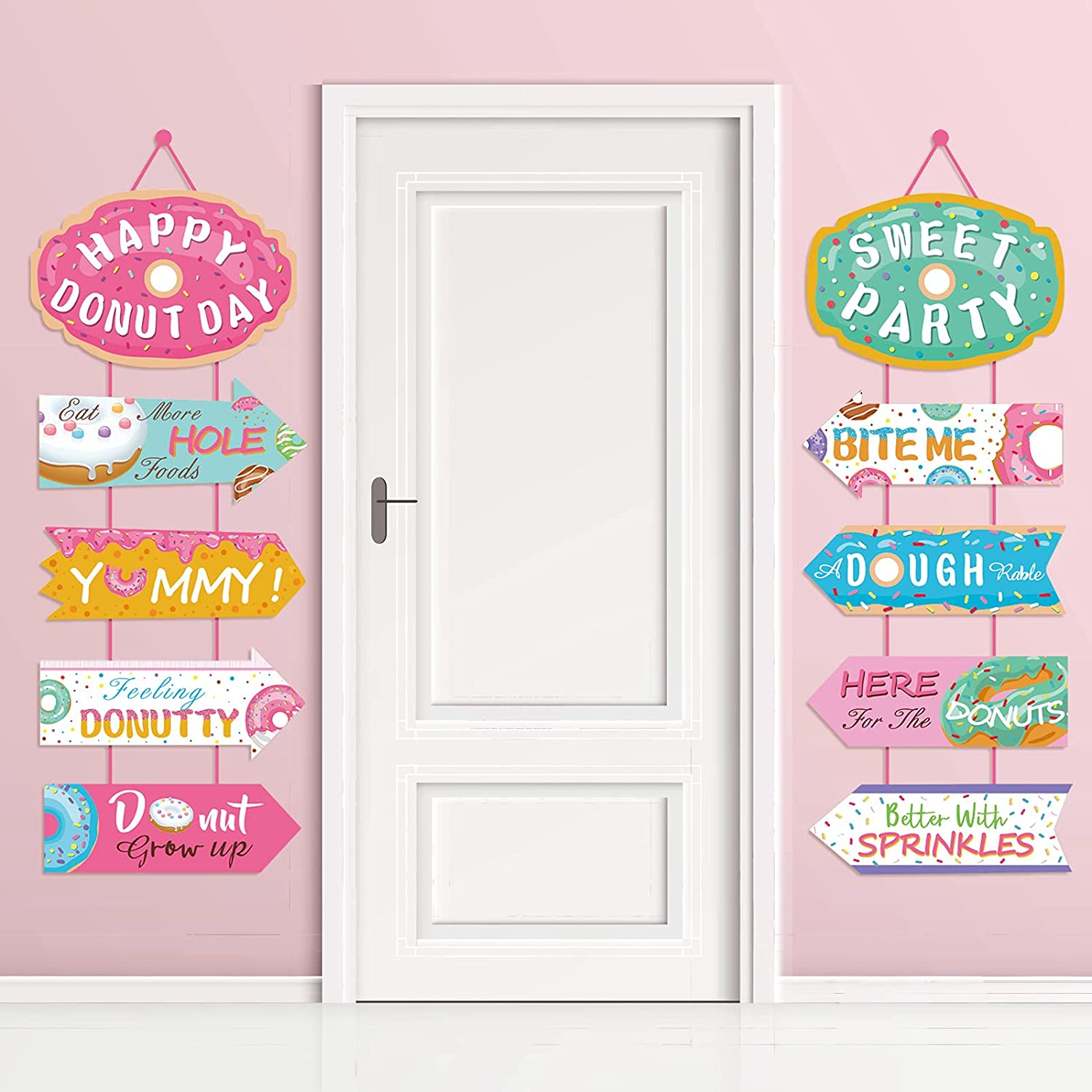 Donut Party Supplies Hanging Porch Sign Banner - Donut Food Theme Party/Tea/Doughnut Baby Shower/Birthday Party Decorations Favors Paper Door Garland