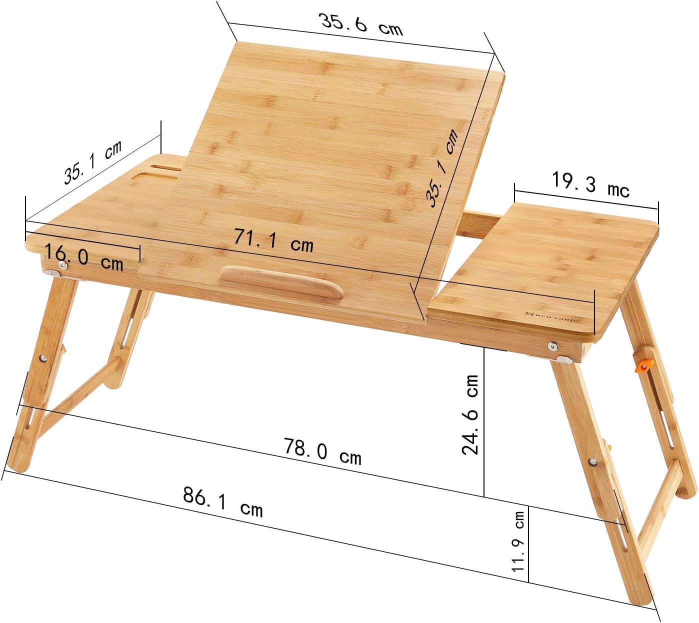 NNEWVANTE Grand Plateau de lit Portable Bureau Lap Desk Pliable Table de Camping en Plein air Portable Debout