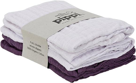 4 pañales de tela Pippi, gasas para vómitos, paños orgánicos de algodón biológico 4455: Amazon.es: Salud y cuidado personal