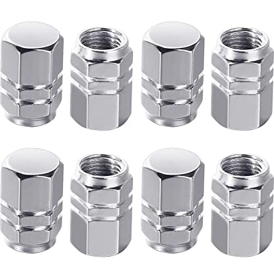 Onwon 8 Pieces Universal Tire Stem Valve Caps Aluminum Chrome Caps, Car Motorcycle Truck Vehicles Dustproof Waterproof Wheel Valve Covers Auto Tire Caps (Silver): Garden & Outdoor
