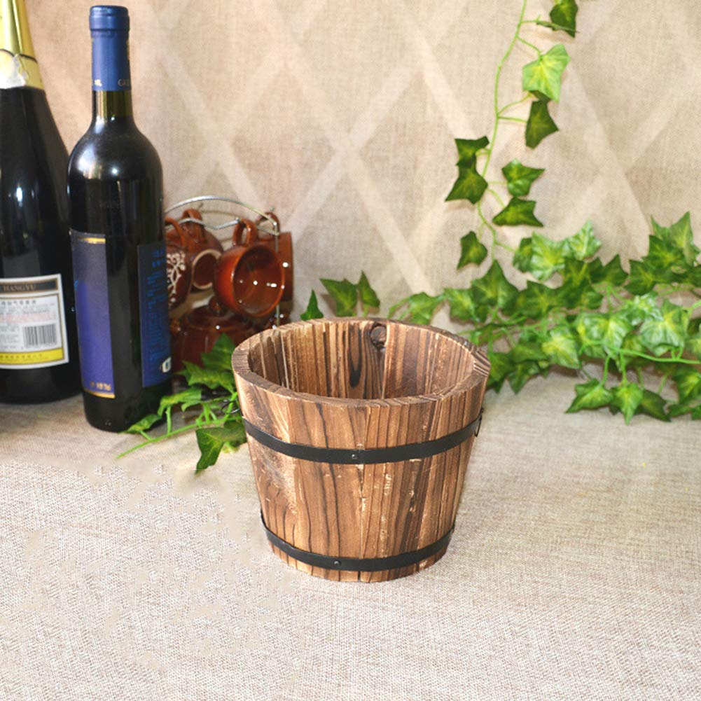 Tianxiangjjeu Pot de fleurs en forme de tonneau en bois durable pour plantes grasses Bois herbes aromatiques S