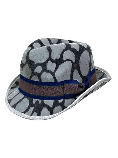 e42ec4441aa1a Luxury Divas Gray Animal Print Wool Fedora Hat at Amazon Women s ...