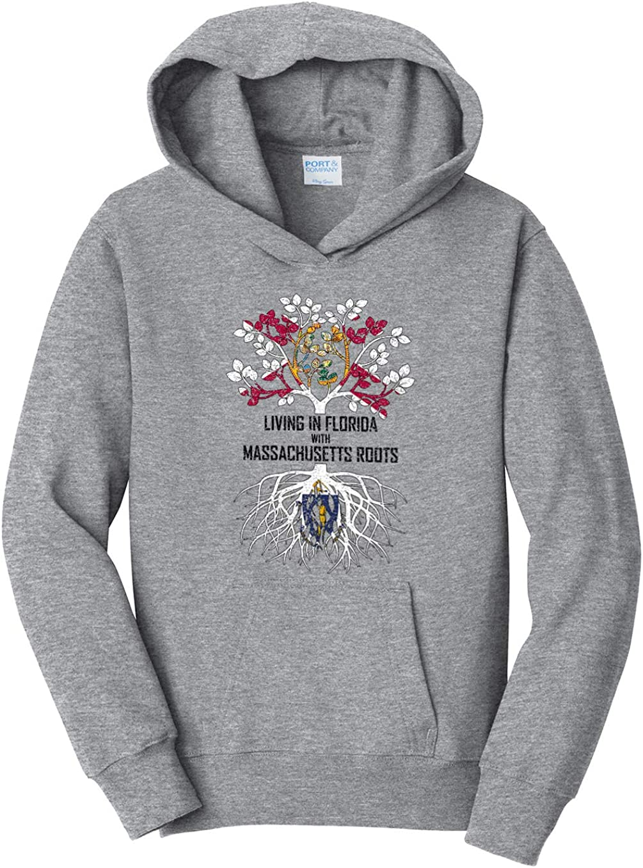 Tenacitee Girls Living in Florida with Massachusetts Roots Hooded Sweatshirt