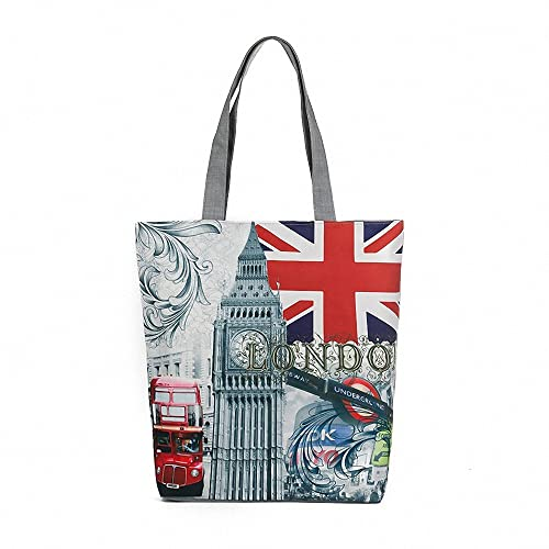 277ca07bdd65 London British Flag Women's Large Cotton Canvas Tote Bag Handbags  Top-Handle Bags Shoulder Shopping Bags