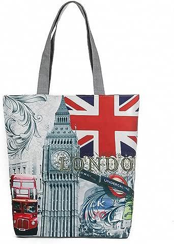 London British Flag Women's Large Cotton Canvas Tote Bag Handbags Top-Handle Bags Shoulder Shopping Bags