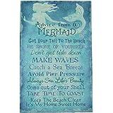 Advice From a Mermaid Blue Canvas Wall Art Sign Beach Seaside Coastal Home Decor