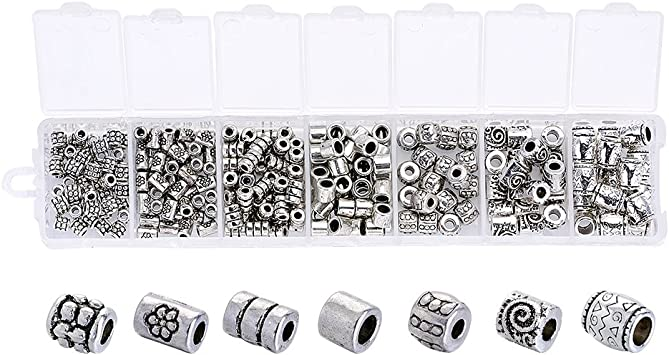 30//3000pcs Tibetan Silver Spacer Loose Big hole Beads Jewelry Making 6mm