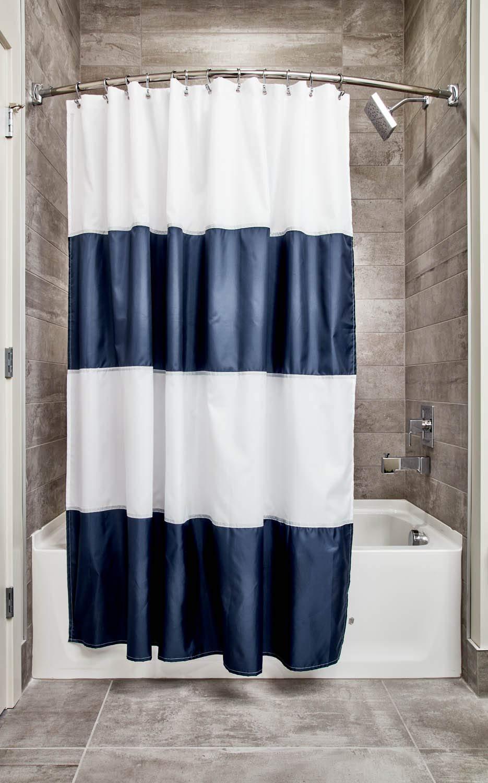 Amazon InterDesign 26901 Mildew Free Water Repellent Zeno Shower Curtain 72 By Navy White Standard Home Kitchen