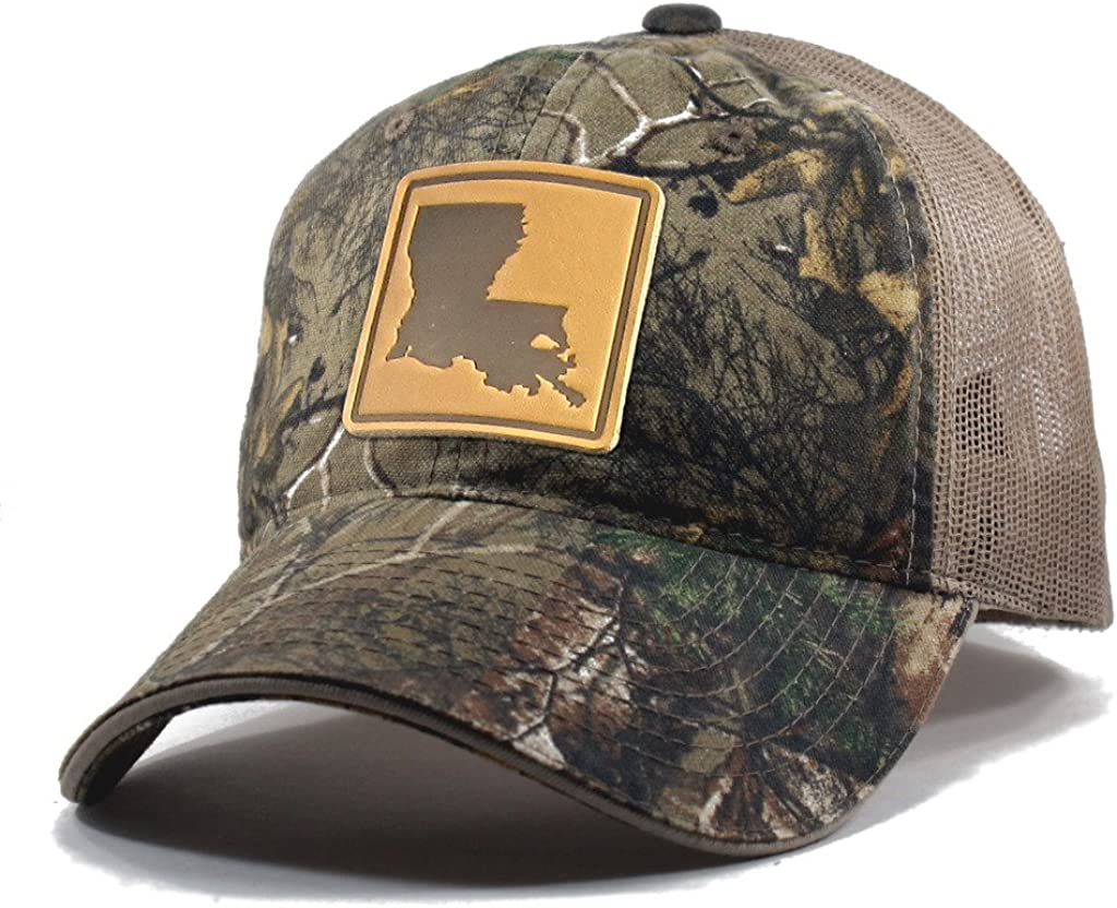 Branded Bills /'Louisiana Native Leather Patch Hat Curved Trucker OSFA//Camo