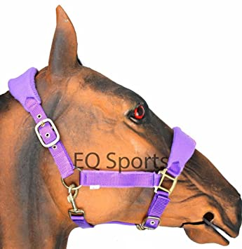 Soft Padded Adjustable Horse Head Collar Halter Fleece Headcollar Red Medium