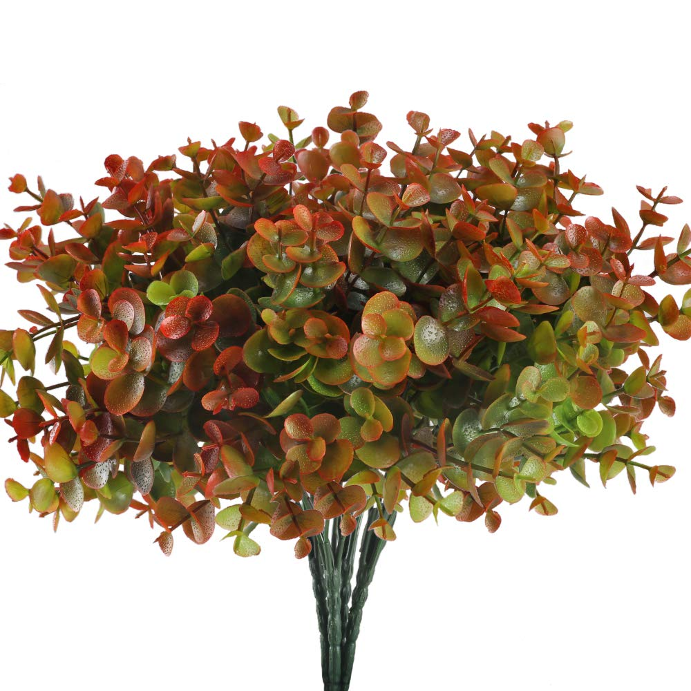 HUAESIN 4 Bunch Fake Flowers for OutsideFaux EucalyptusLeaves Plant Plastic Flowers Shrubs for Pot Vase Filler Bedroom Wedding Hanging Basket Decor Red