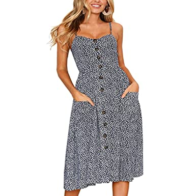 BOSSAND Women s Dresses Summer Floral V-Neck Spaghetti Strap Button Down  Swing Midi Dress with af86f9ddc