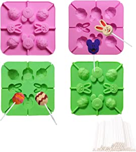 Easter Bunny Egg Shaped Silicone Chocolate Lollipops Mold, Baking Molds for Candy Mini Soap, Lollipops Cake Bread Cupcake Cheesecake Muffin and Jello