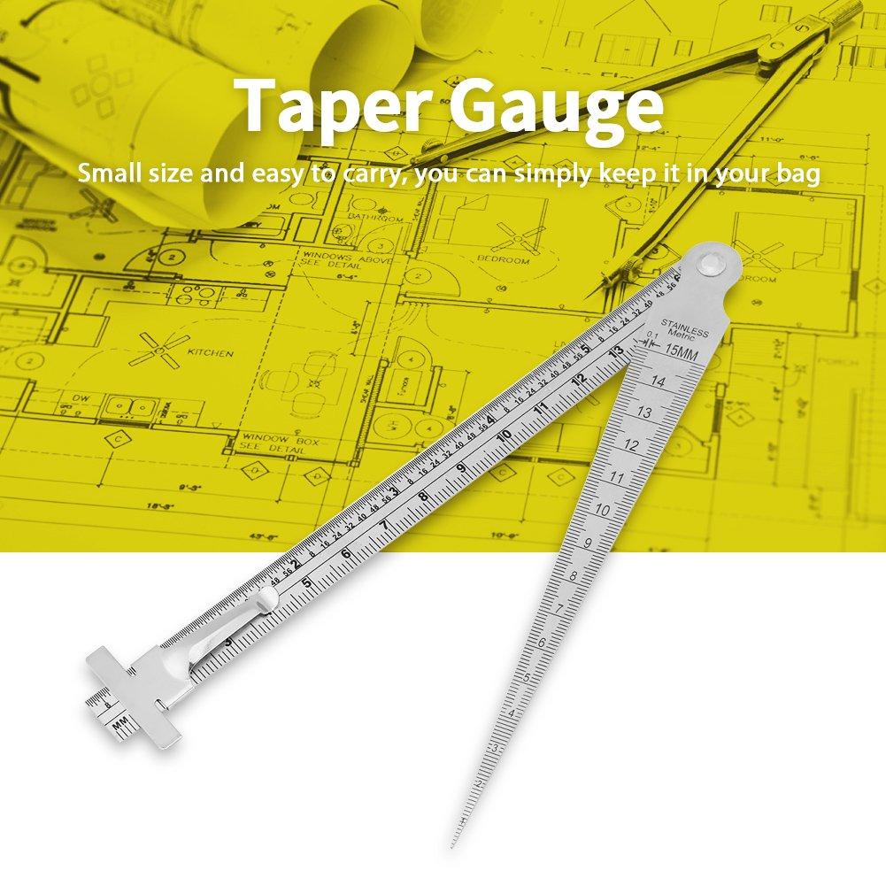 Mini herramienta de inspecci/ón de orificio de regla de profundidad de calibre de sensor de acero inoxidable con mm y sistema de pulgadas Calibrador de hueco c/ónico de soldadura