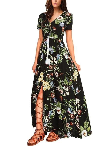 WAJAT - Vestido Largo para Mujer Estampado Floral Negro-Floral X-large
