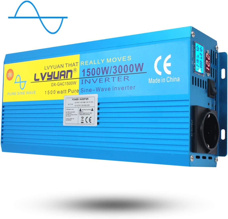 Yinleader Inversor Onda Sinusoidal Pura 1500W Transformador De 12v A 230v 3000W, Inversor De Corriente con 1 Toma Enchufe Y LCD para Coche Caravana Barco cámping de Viaje
