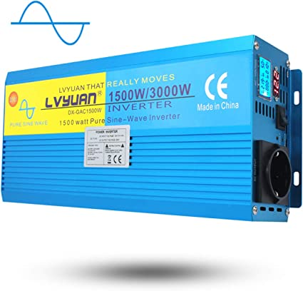 Yinleader Inversor De Corriente Onda Sinusoidal Pura 1500W 3000W Transformador De 12v A 230v Inversor con 2 Toma Enchufe Y LCD para Coche Caravana Barco c/ámping de Viaje