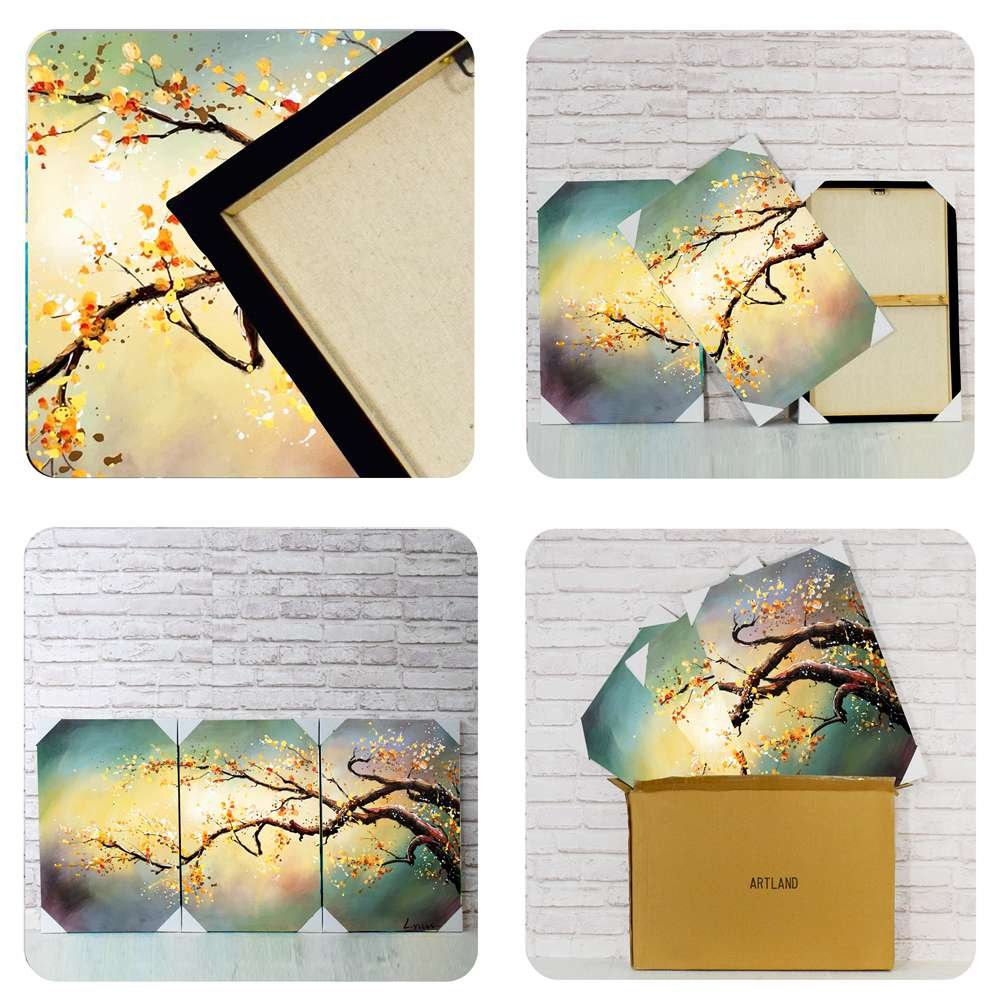 Artland Modern Flower Painting on Canvas Yellow Plum Blossom 3-Piece Gallery-Wrapped Framed Wall Art Ready to Hang for Living Room for Wall Decor Home Decoration 16x36inches
