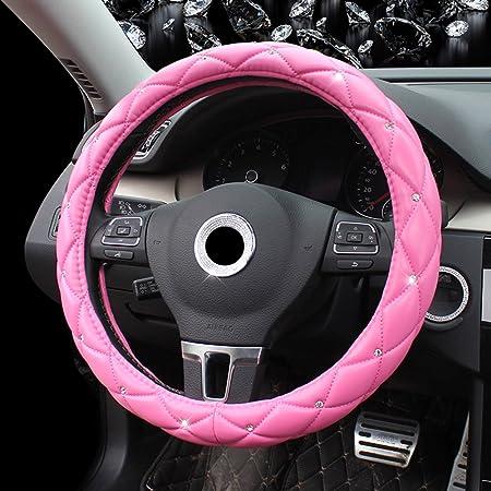 Universal Auto Lenkradschoner Für Damen Mädchen Frohlila 38cm 15 Lenkradhülle Lenkrad Abdeckung Mit Diamanten Lenkradbezug Aus Pu Leder Anti Rutsch Lenkradabdeckung Pink Auto