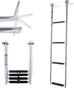 CO-Z 4-Step Collapsible Pool Ladder | Telescoping Boat Ladder with Stainless Steel Construction & Mounts for Swimming Pools Pontoons Docks and More | Folding Step Ladder w 270 Degree Rotation