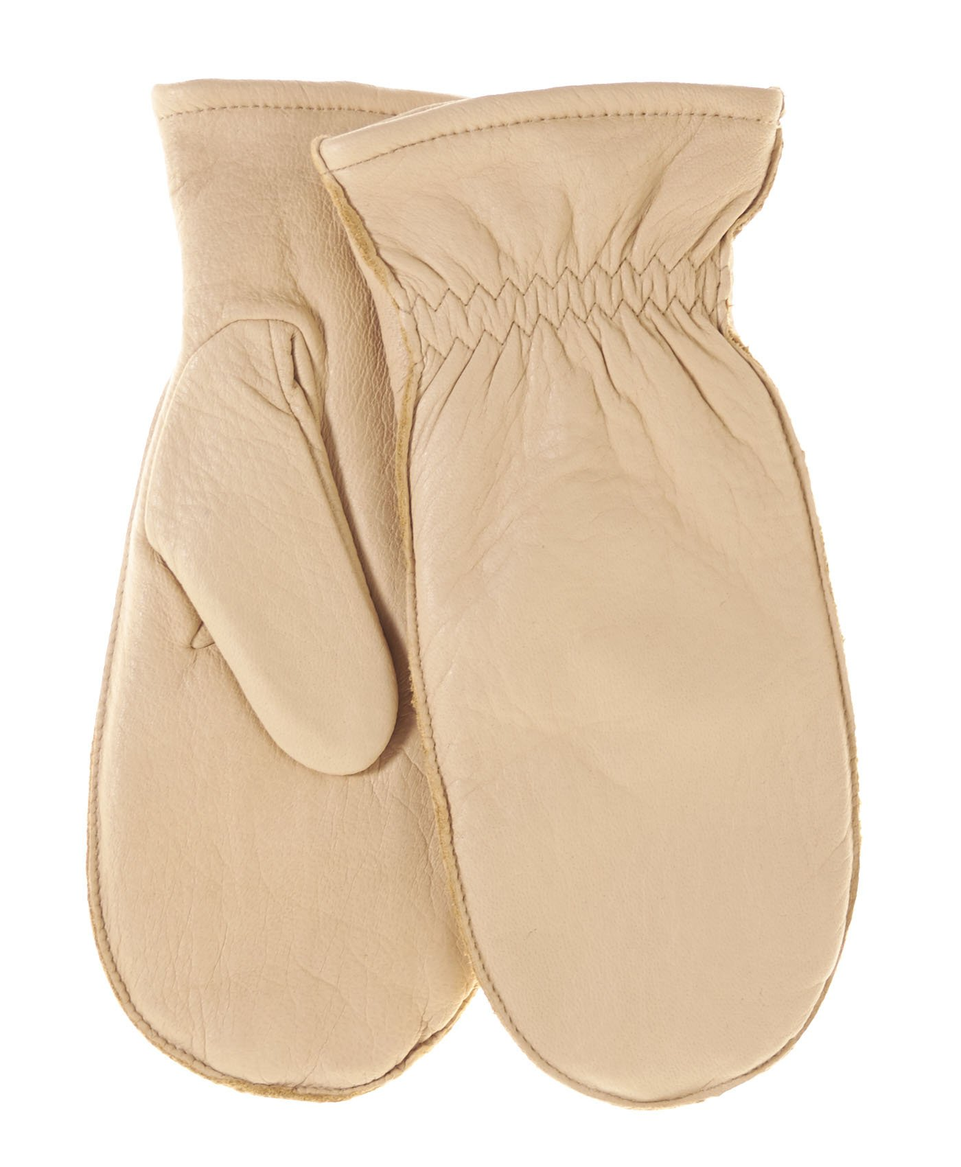 Pratt and Hart Women's Winter Deerskin Leather Mittens with Finger Liners Size M Color Tan