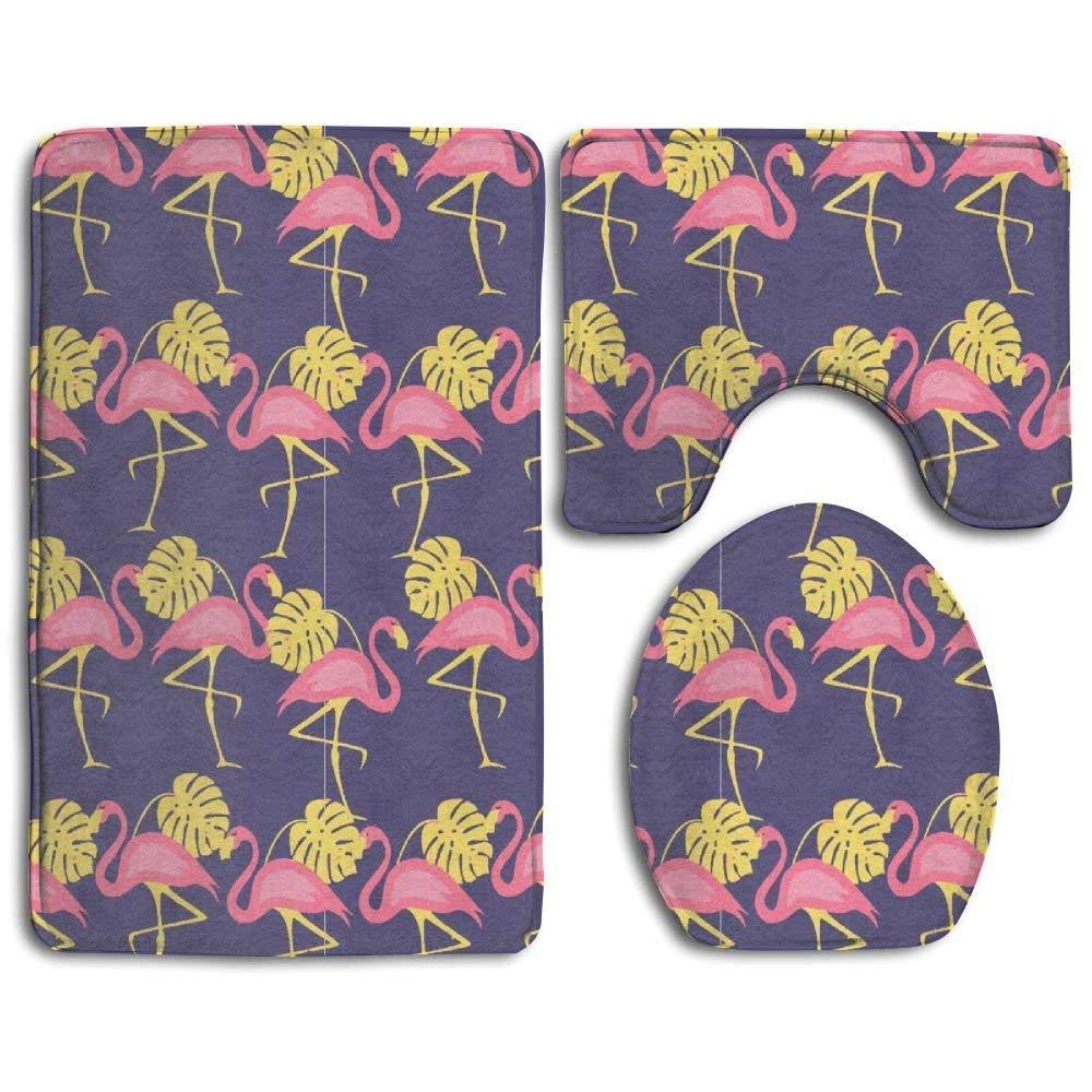 KKblingRen Non-Slip 3 Piece Soft Pugs Donuts Bath Rugs Set Washable Bathroom Rug Contour Mat Toilet Seat Cover,Floor Rug for Doormats Tub Shower Room Decorations