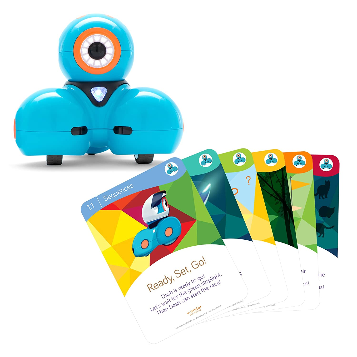 Wonder Workshop Dash Robot with Dash Challenge Cards Bundle - STEAM Learning Toys for girls and boys ages 6+ (Amazon Exclusive)