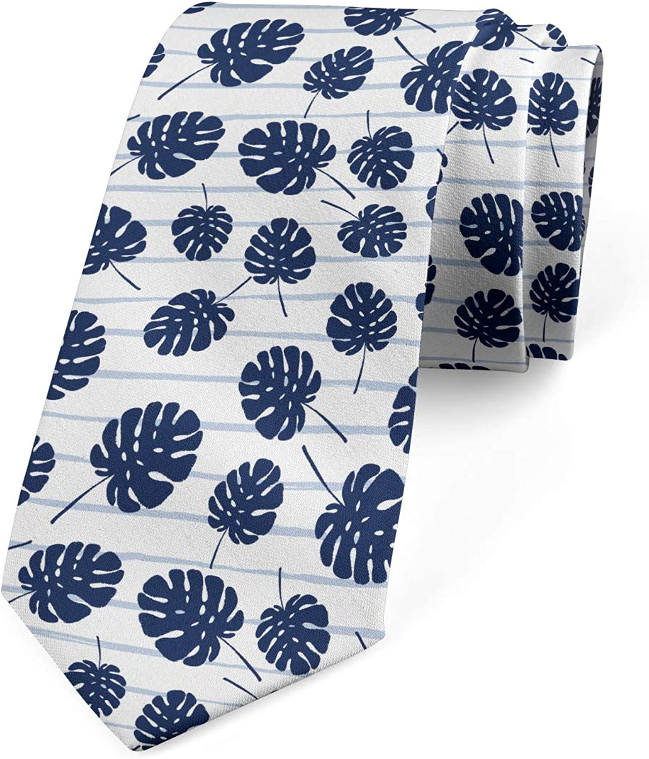 Ambesonne Necktie White and Night Blue Scribble Stripes Leaves 3.7