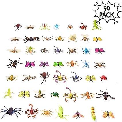 50 Figuras de Insectos Bichos de Plástico Juguetes para Niños| No Tóxico, Formas y Tamaños Realistas| Mariposa Arañas Hormigas Orugas Libélula, etc| Educativo Regalo Fiesta Cumpleaños Halloween.: Amazon.es: Oficina y papelería