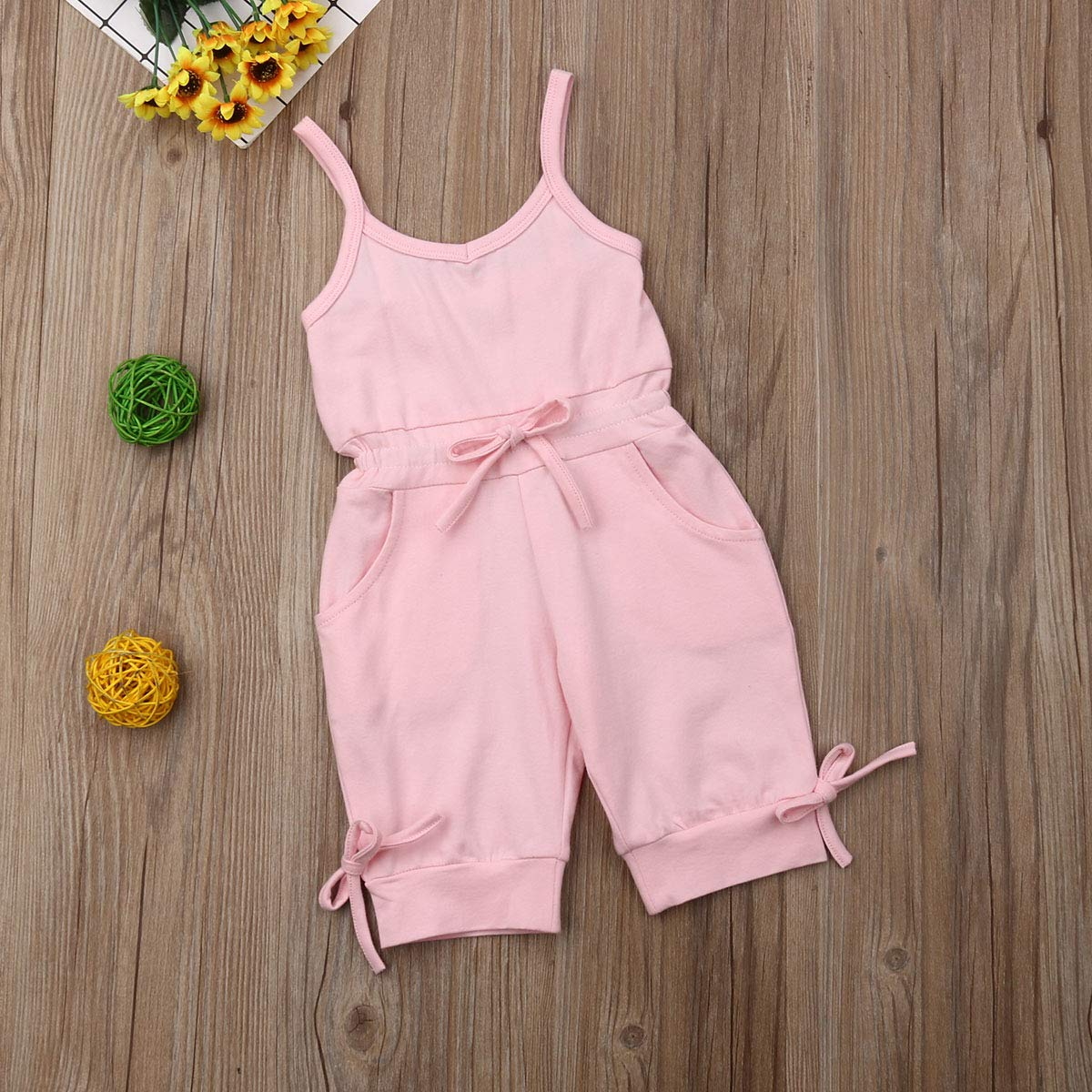 BeQeuewll Toddler Baby Girls Summer Jumpsuits Solid Color Sleeveless Rompers Overalls Outfits Clothes