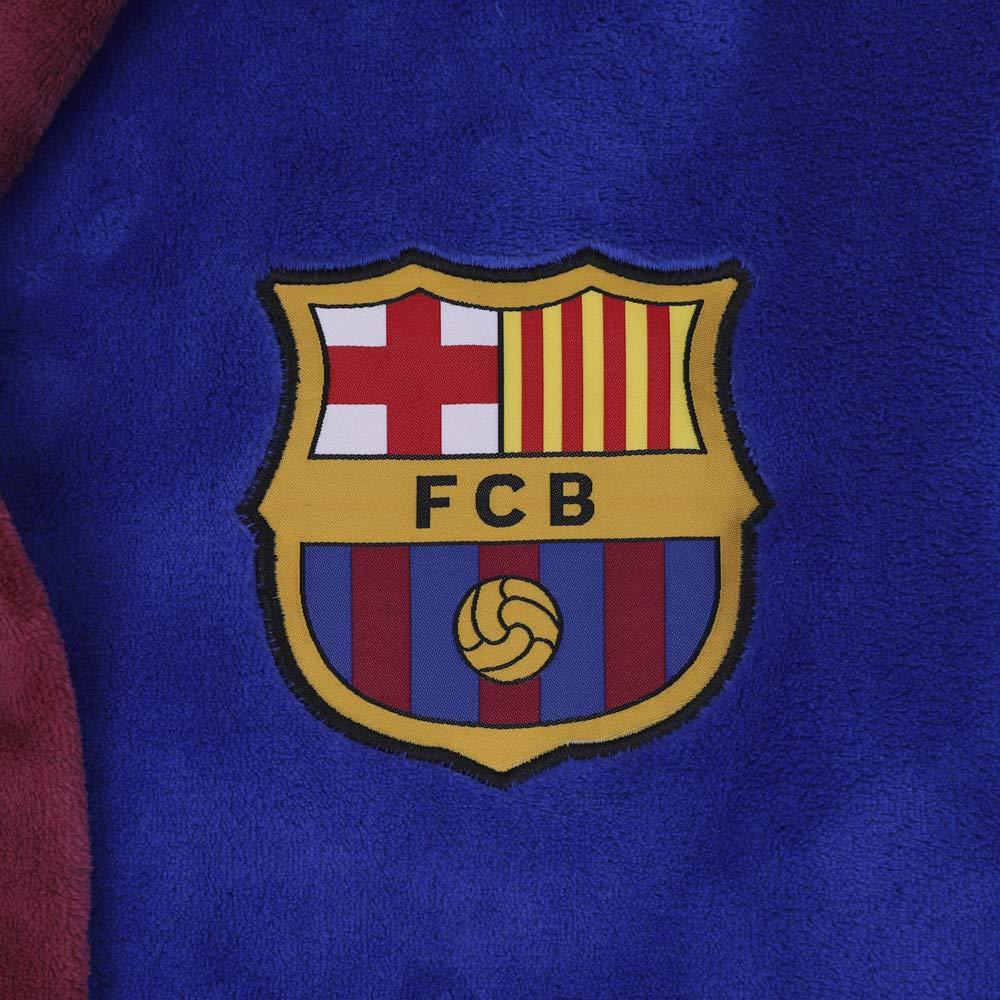 Herren Fleece-Bademantel mit Kapuze FC Barcelona offizielles Merchandise Fu/ßballfans